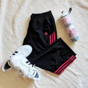 Vintage Adidas Capri Track Pants With Pink Stripes
